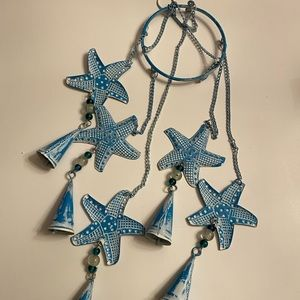Other - Starfish Blue Washed Metal Wind Charm